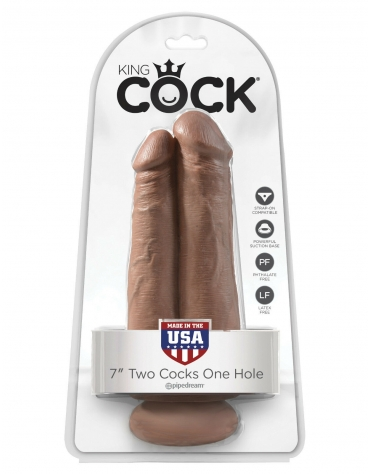 KING COCK 7 INCH TWO COCKS ONE HOLE TAN