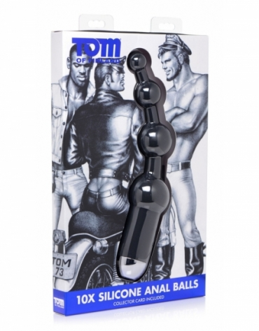 XR TOM OF FINLAND 10X SILICONE ANAL BALLS RECHARGEABLE BLACK