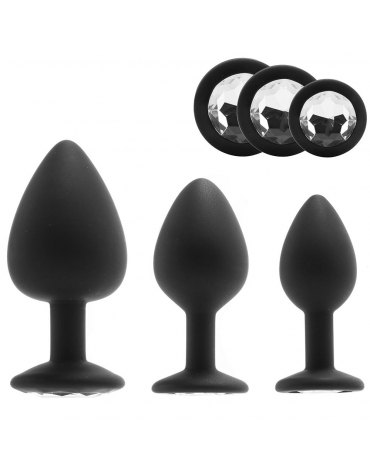 SILICONE GEM ANAL KIT 3 PIECES BLACK