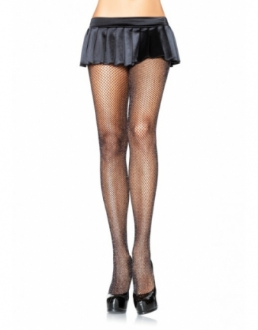 LEG AVENUE GLITTER FISHNET TIGHTS BLACK-SILVER ONE SIZE