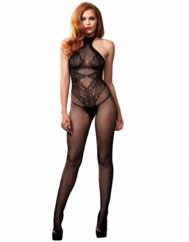 LEG AVENUE FISHNET SEAMLESS HALTER BODYSTOCKING WITH FLORAL LACE HOURGLASS DETAIL OS BLACK