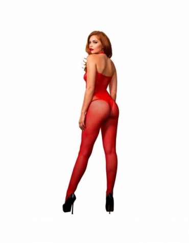 LEG AVENUE FISHNET SEAMLESS HALTER BODYSTOCKING WITH FLORAL LACE HOURGLASS DETAIL RED ONE SIZE