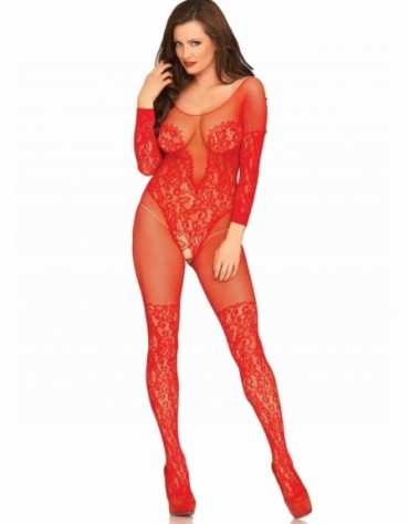 LEG AVENUE VINE LACE AND NET LONG SLEEVED BODYSTOCKING RED ONE SIZE
