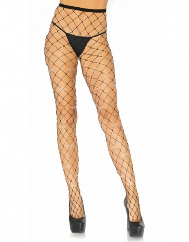 LEG AVENUE CRYSTALIZED FENCE NET TIGHTS BLACK ONE SIZE