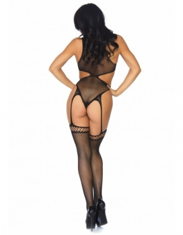 LEG AVENUE FISHNET CUT OUT CROTCHLESS TEDDY WITH ATTACHED THIGH HIGHS OS BLACK