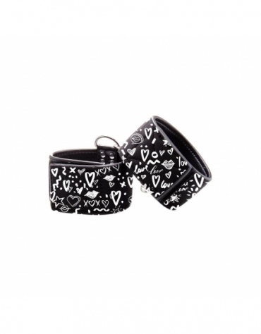 SHOTS OUCH! PRINTED HAND CUFFS - LOVE STREET ART FASHION BLACK
