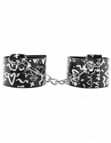SHOTS OUCH! PRINTED ANKLE CUFFS - LOVE STREET ART FASHION BLACK