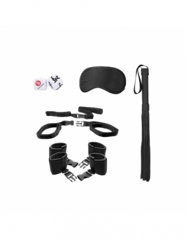 SHOTS OUCH! BED POST BINDINGS RESTRAINT KIT BLACK