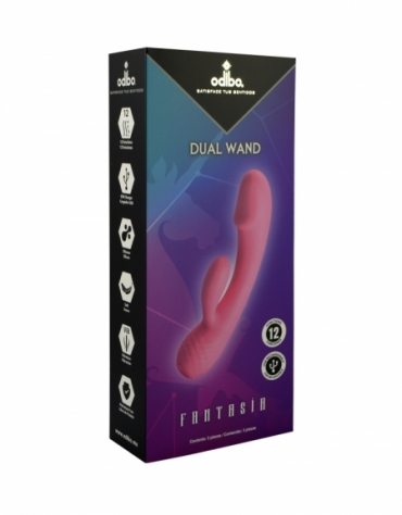 ODIBO FANTASIA DUAL WAND 12 FUNCTIONS USB RECHARGEABLE LIGHT PINK