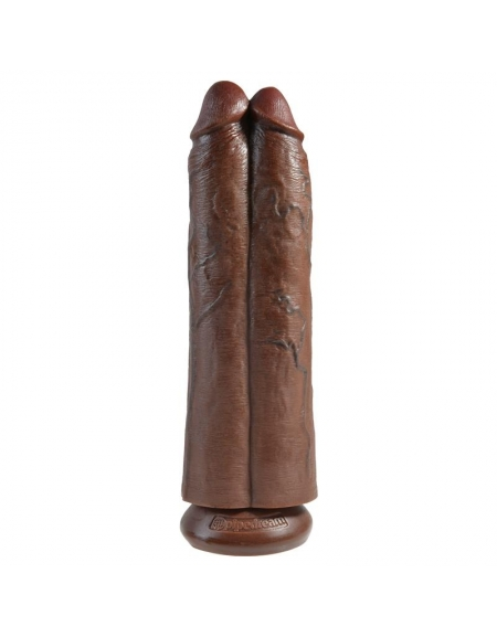 KING COCK TWO COCKS ONE HOLE 11 INCH BROWN