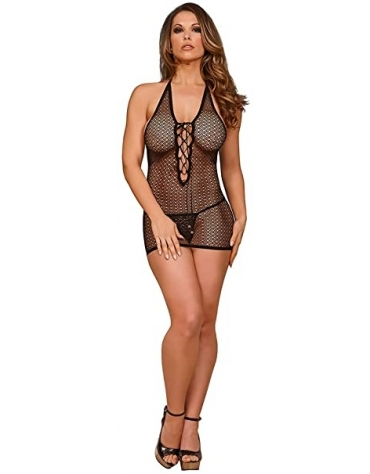 EXPOSED CHEMISE WITH LACE UP BACK AND G-STRING L-XL BLACK