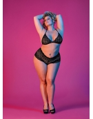 EXPOSED SEXY TIME TRIANGLE BRA AND CHEEKY SHORT SET S-M BLACK
