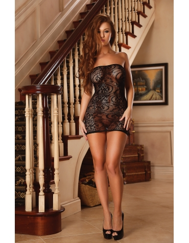 EXPOSED SEAMLESS SWIRL TUBE DRESS ONE SIZE BLACK