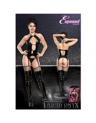 EXPOSED DOUBLE KEYHOLE MERRY WIDOW AND G-STRING S-M BLACK