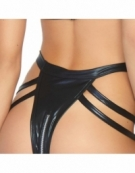 LEG AVENUE WET LOOK CAGE STRAP GARTER TEDDY WITH O-RING HALTER AND ZIP AROUND THONG BOTTOM S-M BLACK