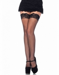 LEG AVENUE SPANDEX FISHNET STOCKINGS WITH BACKSEAM AND STAY UP SILICONE LACE TOP OS BLACK