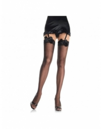 LEG AVENUE SHEER THIGH HIGHS WITH SATIN BOW ACCENT OS BLACK