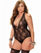 LEG AVENUE 2 PC. FLORAL LACE DEEP-V LACE UP TEDDY AND MATCHING STOCKINGS PLUS SIZE BLACK