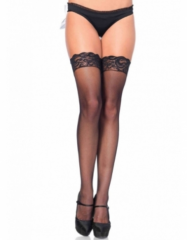 LEG AVENUE STAY UP LACE TOP MICRO NET THIGH HIGHS OS BLACK
