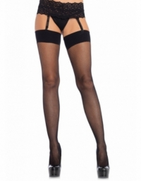 LEG AVENUE SPANDEX FISHNET STOCKINGS WITH COMFORT WIDE BAND TOP OS BLACK