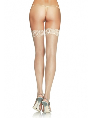 LEG AVENUE SHEER LACE TOP STOCKINGS WITH BACKSEAM BLK ONE SIZE