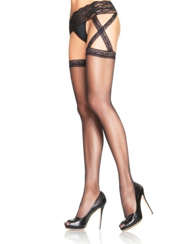 LEG AVENUE SHEER LACE TOP STOCKINGS WITH ATTACHED CRISS CROSS LACE GARTERBELT OS BLACK