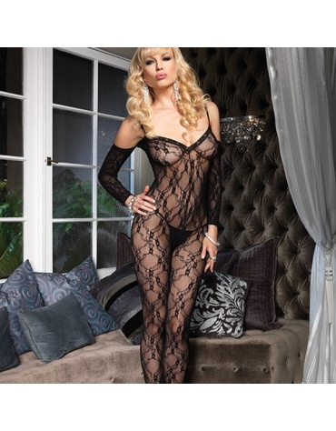 LEG AVENUE FLORAL LACE BODYSTOCKING WITH ATTACHED SLEEVES OS BLACK