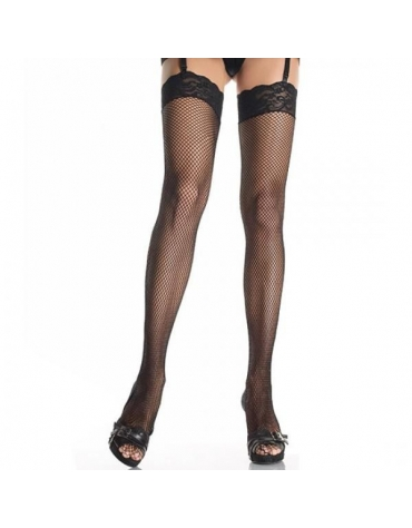 LEG AVENUE FISHNET THIGHT HIGHS WITH LACE TOP BLK