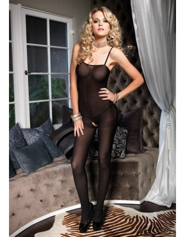LEG AVENUE SPAGHETTI STRAP OPAQUE BODYSTOCKING OS BLACK