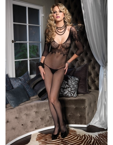 LEG AVENUE SEAMLESS FISHNET QUARTER SLEEVE BODYSTOCKING WITH FLORAL LACE BODICE OS BLACK
