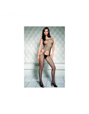 LEG AVENUE SEAMLESS INDUSTRIAL NET SUSPENDER BODYSTOCKING OS BLACK