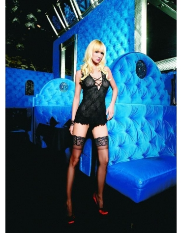 LEG AVENUE 2PC. BOUDOIR LACE HMINI DRESS WITH CRISS CROSS FRONT