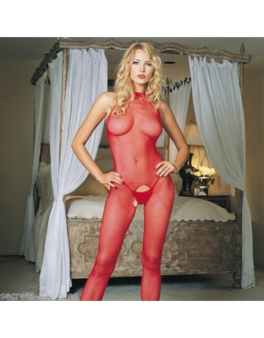 LEG AVENUE SEAMLESS FISHNET HIGH NECK HBODYSTOCKING RD ONE SIZE