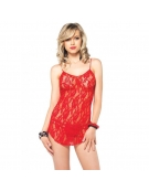 LEG AVENUE 2 PC ROSE LACE FLARED CHEMISE WITH MATCHING G-STRING OS RED