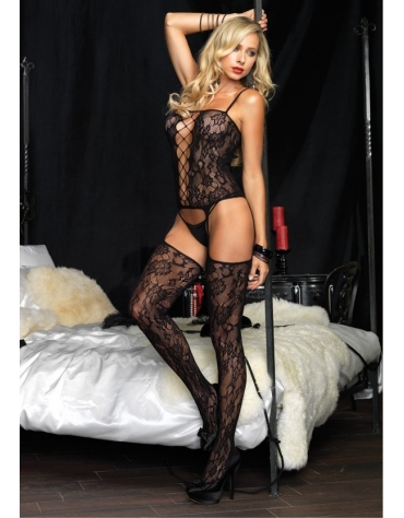 LEG AVENUE FLORAL BOUQUET LACE SUSPENDER BODYSTOCKING WITH N...