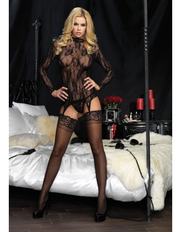 LEG AVENUE 2 PC LONG SLEEVED FLORAL LACE GARTER TOP AND MATCHING G-STRING BLK ONE SIZE