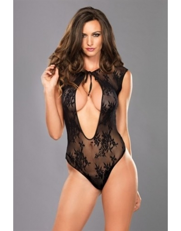 LEG AVENUE STRETCH LACE G-STRING TEDDY WITH KEYHOLE TIE FRONT DETAIL OS BLACK
