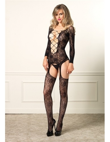 LEG AVENUE SEAMLESS FLORAL LACE LONG SLEEVE SUSPENDER BODYSTOCKING OS BLACK