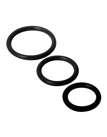 XR SILICONE COCK RINGS 3 SIZES BLACK