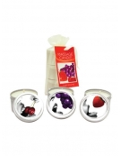 EARTHLY BODY MASSAGE CANDLE THREESOME CHERRY - STRAWBERRY - GRAPE APPROX 2 OZ EACH