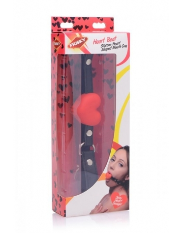 XR FRISKY SILICONE HEART SHAPED MOUTH GAG RED