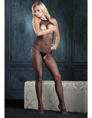 LEG AVENUE SEAMLESS HPEEK-A-BOO FISHNET BODYSTOCKING BLK ONE...
