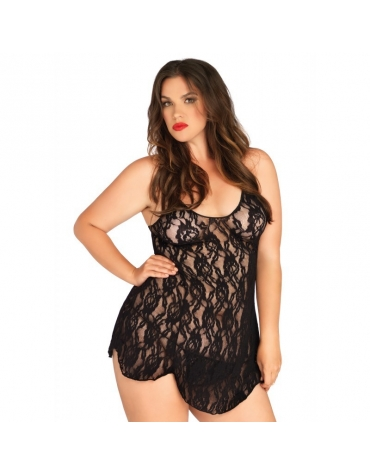 LEG AVENUE 2 PC ROSE LACE LFARED CHEMISE AND MATCHING G-STRING PLUS SIZE BLACK