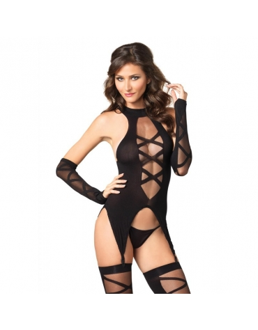 LEG AVENUE 3 PC OPAQUE LACE UP CAMI GARTER - STOCKINGS AND MATCHING FINGERLESS GLOVES OS BLACK