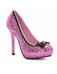 LEG AVENUE PRINCESS 5 INCH GLITTER PUMP WITH PATENT BOW AND SCALLOP TRIM PINK SIZE 7
