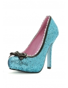 LEG AVENUE PRINCESS 5 INCH GLITTER PUMP WITH PATENT BOW AND SCALLOP TRIM BLUE SIZE 7