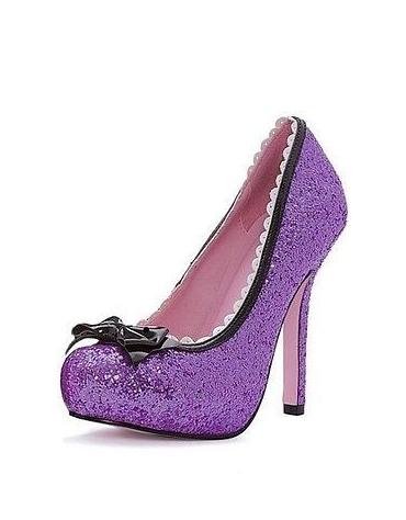 LEG AVENUE PRINCESS 5 INCH GLITTER PUMP WITH PATENT BOW AND SCALLOP TRIM PURPLE SIZE 7