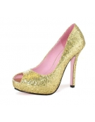 LEG AVENUE ELLA 5 INCH OPEN TOE GLITTER PUMP WITH 1 IN COVERED PLATFORM GOLD SIZE 7