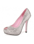 LEG AVENUE ELLA 5 INCH OPEN TOE GLITTER PUMP WITH 1 IN COVERED PLATFORM SILVER SIZE 7