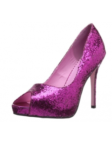 LEG AVENUE ELLA 5 INCH OPEN TOE GLITTER PUMP WITH 1 IN COVERED PLATFORM FUCHSIA SIZE 7